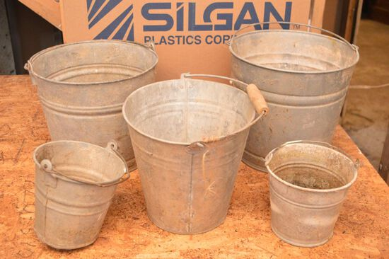 Group of Galvanized Buckets some have Bale Handle