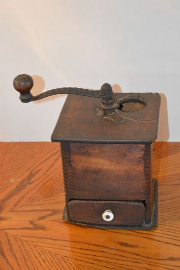 Tall Hand Crank Coffee Grinder - Missing Top