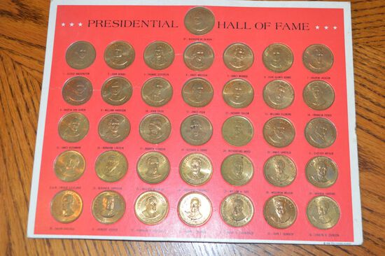 Group of 36 Solid Bronze Presidential Franklin Mint Coins