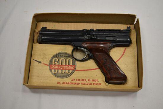 Crossman 600 CO2 Semi Auto Pistol w/ Box, SN# 129162, Needs Lid for Box