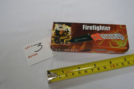 Firefighter Tribute Knife, NIB, Flip & Lock Blade with Belt Clip and Faux H
