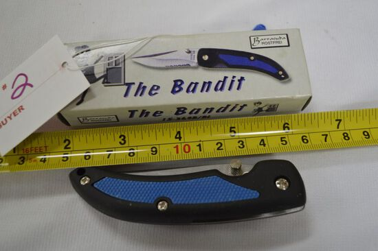 "The Bandit Knife, NIB, Flip & Lock Blade with Belt Clip, 4"" Closed"
