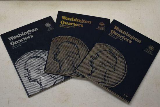 3 - Whitman Albums of Washington Quarters; 1948-1964 (7 Coins), 1965-1987 C