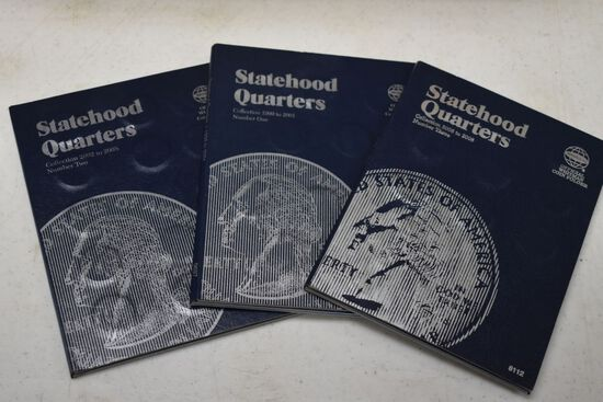 3 - Whitman Albums of State Hood Quarters; 1999-2001 Complete, 2002-2005 Co