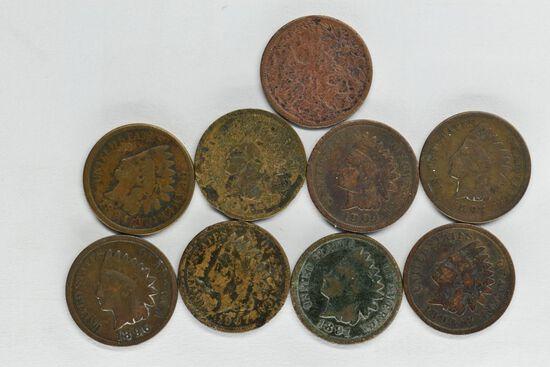 9 - 1891 - 1907 Indian Head Pennies