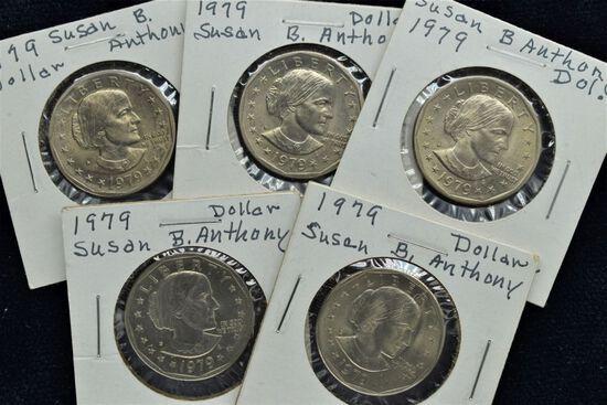 5 - 1979 UNC Susan B Anthony Dollars