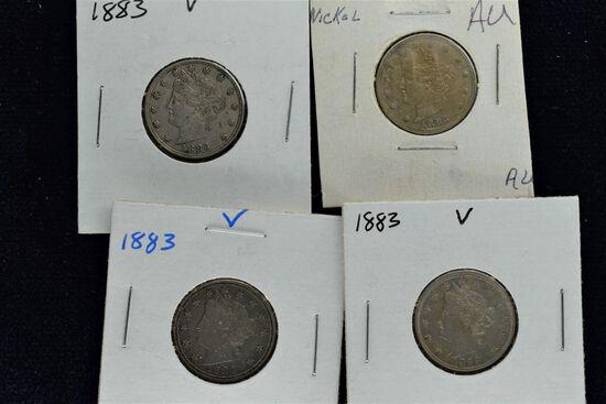 4 - 1883 V Nickels