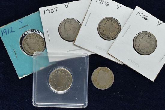 6 - 1906 - 1912 V Nickels