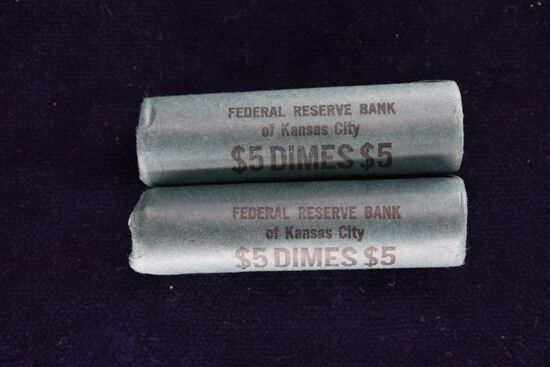 2 Rolls of Approximately 100, 1963 Roosevelt Dimes