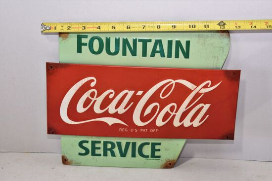 Vintage Looking Coca Cola Fountain Service Tin Sign