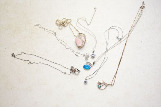 Group of Misc 925 Silver & Stone Necklaces
