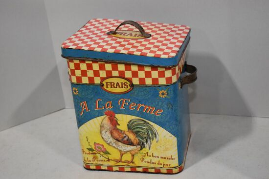 A La Ferme Double Handle Tin w/ Lid - Modern