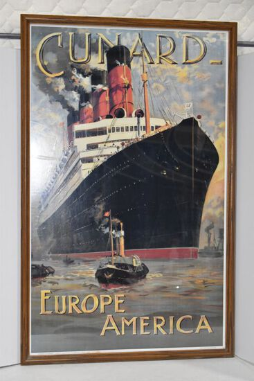 "Cunard - Europe America Ship - Litho: 40"" tall x 25"" wide Framed"