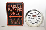 Harley Davidson Metal Sign & Clock