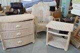 3 pc Wicker Set: High Back Chair, 3 Drawer Dresser and Side table - missing