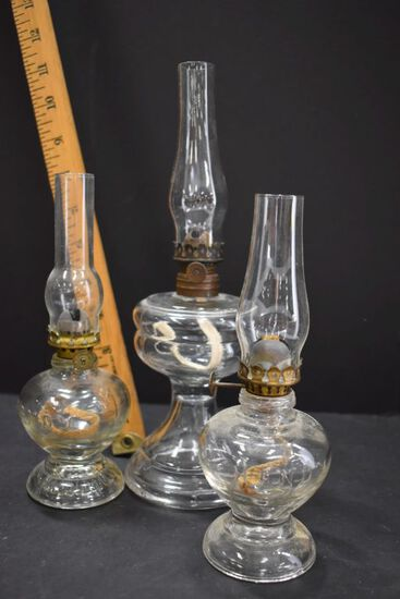 """3 Mini Oil Lamps: 3 Clear Plain Footed Bases w/Chimney, 2 say """"Handy"""""""