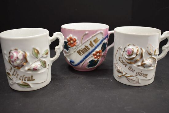 """3 German Cups """"Think of Me"""", """"Love the Giver"""", """"Rose Decoration"""""""
