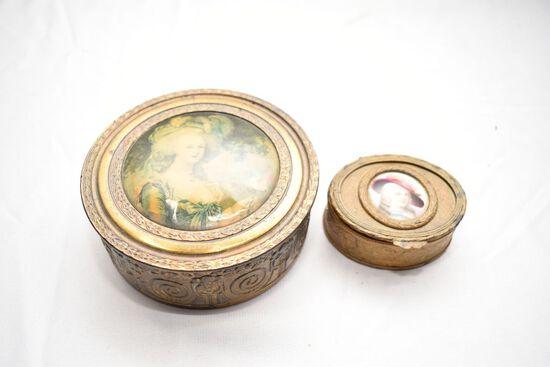 Small Copper Trinket Box + round copper powder box; both w/Women Photos