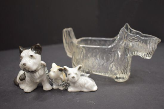 """1 Clear Scotty Dog """"Candy"""" + Scotty Dog and Pup Figurines"""