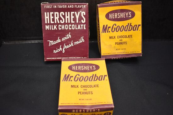 """Group of 3 Hershey Mfg """"Mr. Good Bar"""" Candy Boxes"""