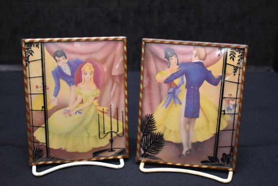 Pair of Victorian Bubble Glass Pictures