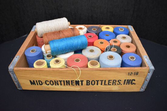 Wood Crate of Assorted Yarns