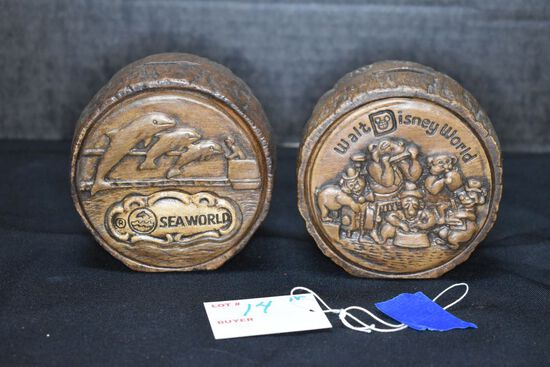 Pair of Banks by Treasure Craft - 4 inch Walt Disney World and Sea World w/