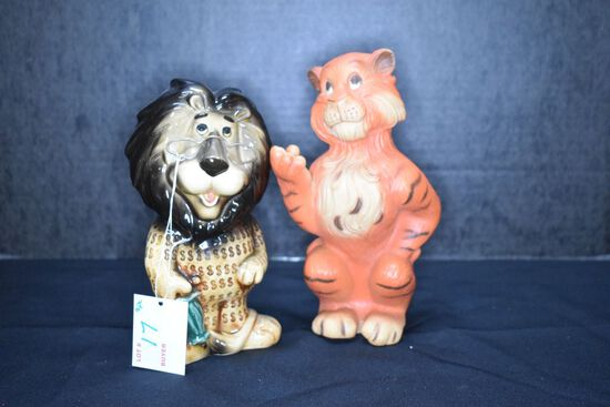 Lefton #13384 Lion Bank and Plastic Tiger Bank by Humble Oil & Refining Co.