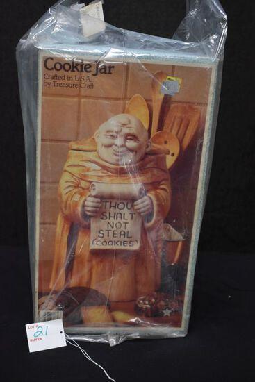 """Thou Shalt Not Steal Cookies"" Monk Cookie Jar w/Box by Treasure Craft"