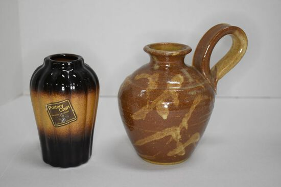 Handmade 5 inch Crock jug w/Large Handle Marked Janis and 4 1/2 inch Melon