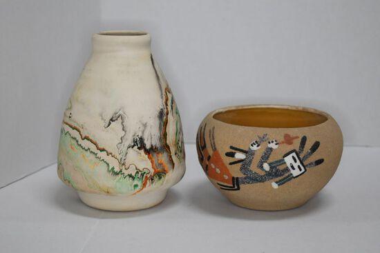 Nemadh Indian Pottery of Native Clay: 6 inch Vase Gloss Glaze Inside, Green