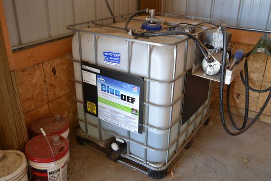 Blue Def Tank, 110gal Tote with Electric Pump, 85gal Remaining