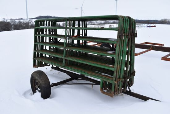 19- Portable Corral Panels With Cart, Excellent Shape