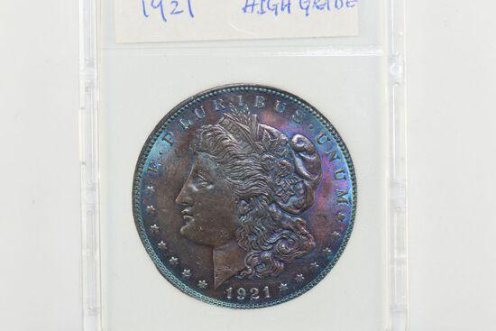 1921 Rainbow Morgan Silver Dollar