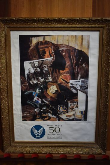 WWII 50th Anniversary Aviator Themed Framed Poster