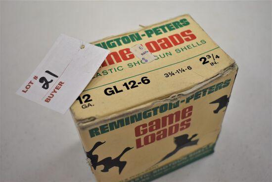 1 - Box of 25, 12 ga. Remington 2.75 6 shot