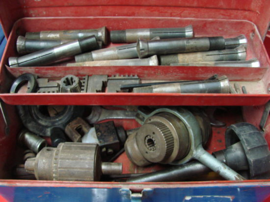 Blue Metal Tool Box with Auto Tools & Parts