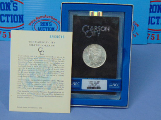 1882-CC Carson City Morgan Silver Dollar - GSA Hoard - Graded MS-63