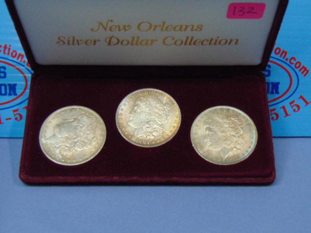 3 New Orleans Mint Morgan Silver Dollars - 1883-O 1884-O 1885-O
