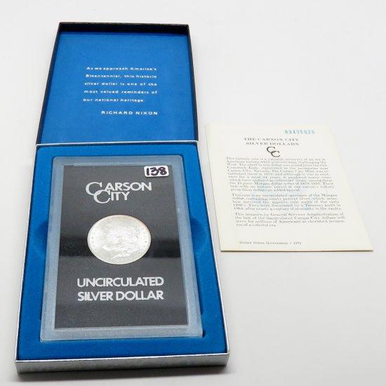 Morgan $ 1883CC GSA with COA, box hinge weak