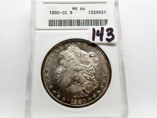 Morgan $ 1880CC ANACS MS64, older holder