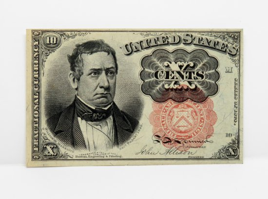 2 Fractional Currency 1874/75 : 10 Cent FR1265 CU, 25 Cent FR3351 VG