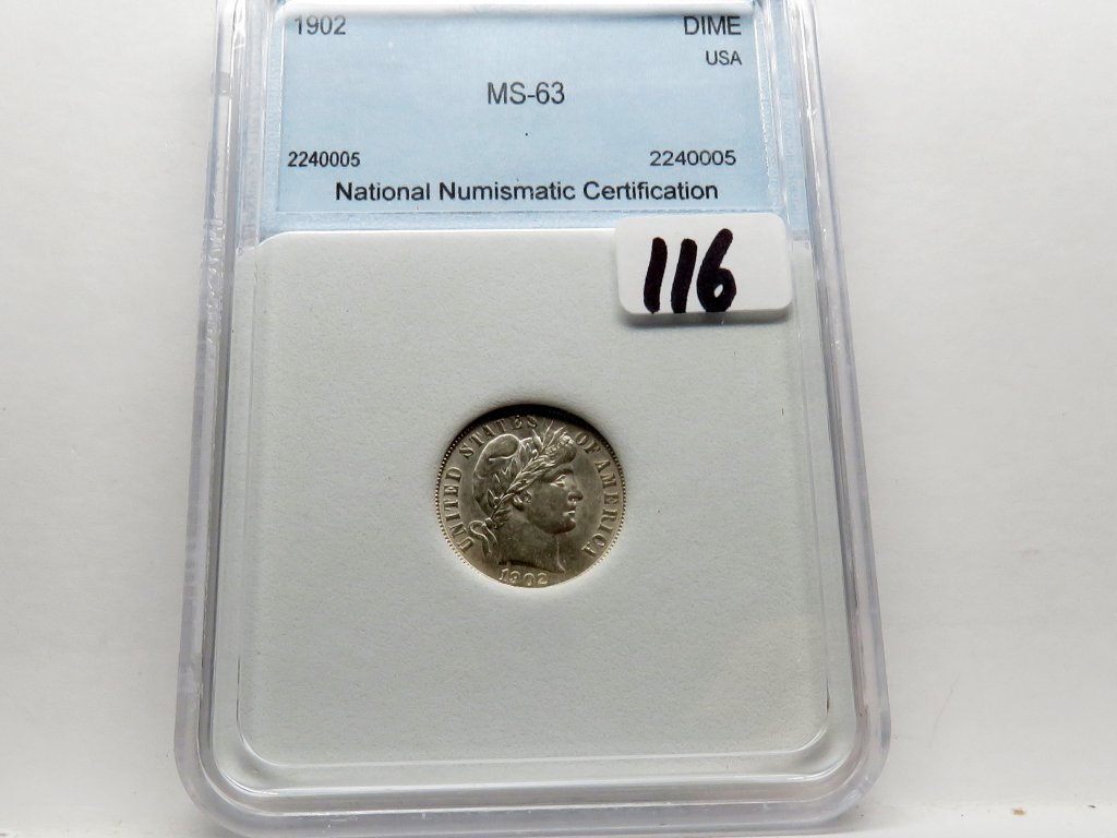 Dime Barber 1902-O (Box incorrectly says 1902) NNC Mint State (Well struck)