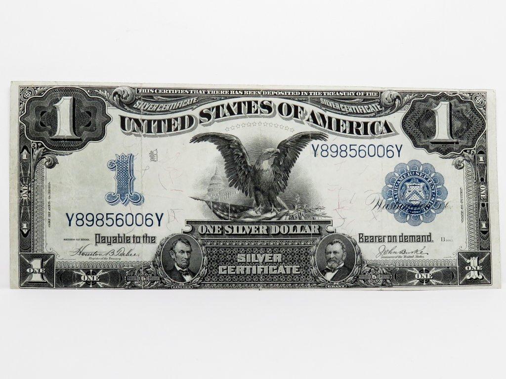"""$1 Silver Certificate 1899 """"Black Eagle"""", FR233, SN V89856006Y, VF"""