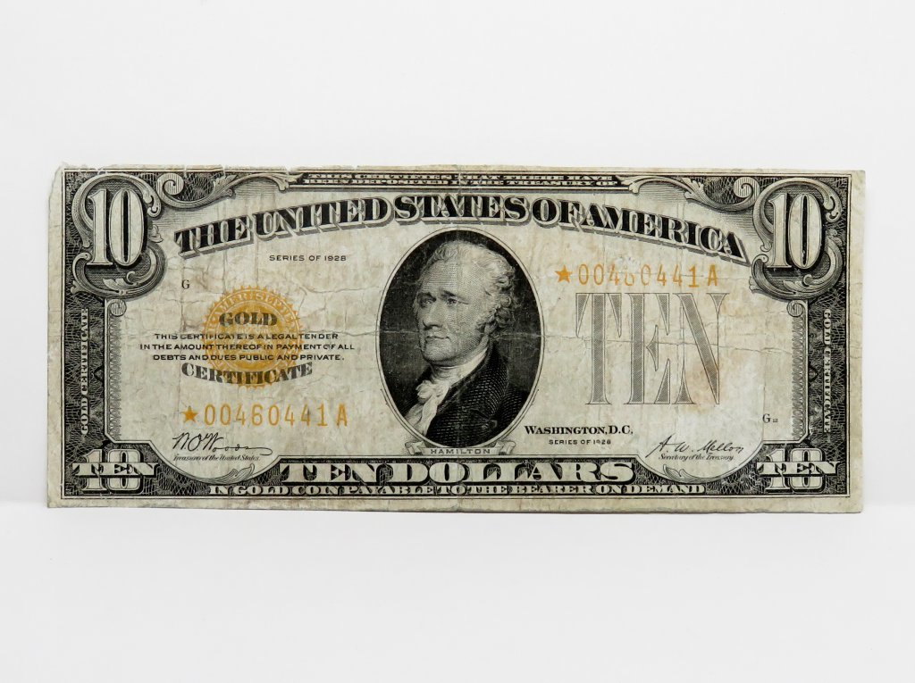 $10 Gold Certificate 1928 STAR, SN *00480441A, F rough edge