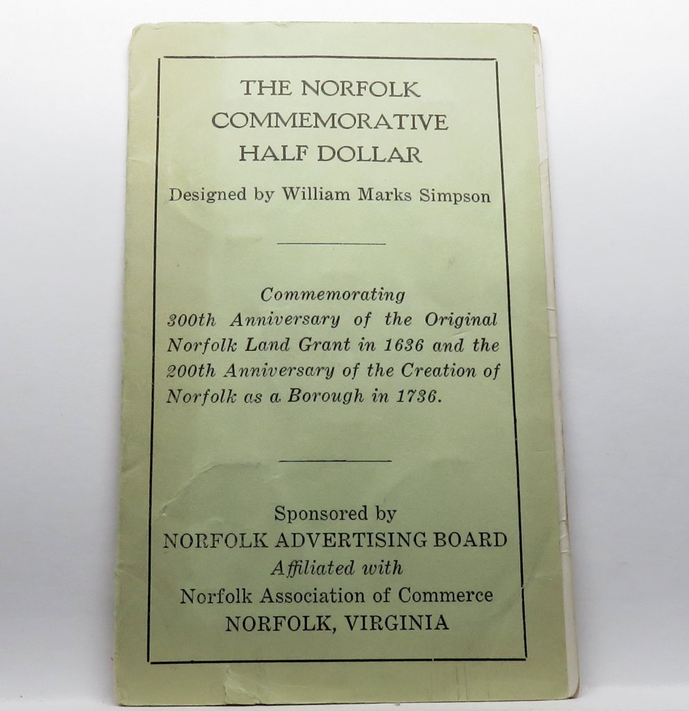 1936 Norfolk Commemorative Half Dollar Original Holder