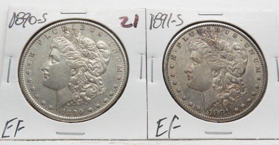 2 Morgan $ EF 1890-S & 1891-S