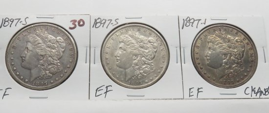 3 Morgan $ 1897-S EF 1 Cleaned