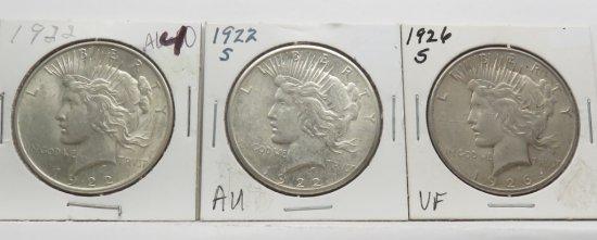 3 Peace $ 1922 AU; 22-S AU; 26-S VF