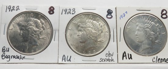 3 Peace $ 1922 BU (Bag marks); 1923 AU (Obverse scratches); 1927 AU (Cleaned)